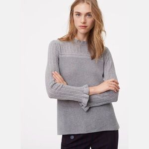 Ann Taylor LOFT Pointelle Flutter Sleeve Sweater